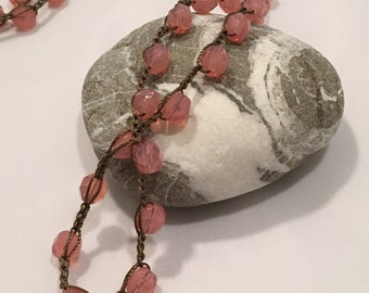 Milky Pink Hand Crocheted Bohemian Necklace