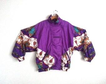 Vintage 80s Windbreaker Colorblock Deluxe Upscale Jacket Purple Riviera