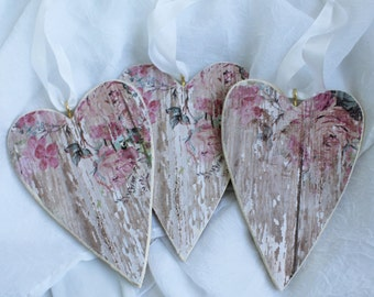 Shabby Rose Heart Ornaments Chic Flowers or use as Gift Tags Valentine's Day Wedding