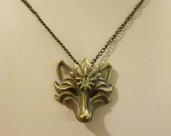 Bronze Fox Masquerade Necklace with Green Stone