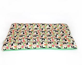 Boston Terrier Hawaii dog bed, CUSTOM fleece, crate pad, crate bed