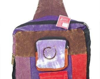 Boho Hippie Handmade Boho Backpack Single Strap Three Front Pouch Multi Colors
