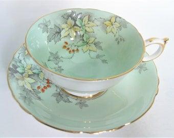 Paragon Tea Cup and Saucer, Mint Green  tea cup and saucer set, Hand Painted Green Paragon tea cup set.