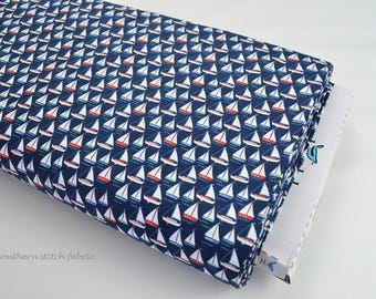 "Sailboat Fabric - Riley Blake ""By The Sea"" By Dani Mogstad for My Mind's Eye-100% cotton. Sea Boat, Nautical, 4th of July - C5701"