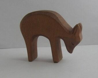 Original OSTHEIMER wooden figure / wood animal (marked). Wooden toy. Ostheimer animals in the woods and fields: deer. VINTAGE
