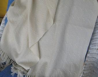 "Hand Woven Shawl in ""Huck Lace"", fine organic Merino wool"