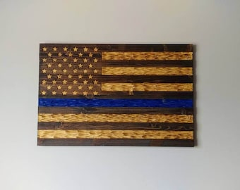 Police Thin Blue Line Chiseled USA rustic flag for Law Enforcement.