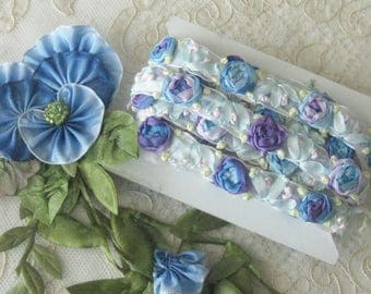 Beautiful Ribbonwork Trim - Embroided Silk Ribbon Roses in Blue and Lavender - Crafts,  Sewing, Costumes, Crazy  Quilt - Sold by the Yard