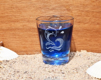 12 Dolphin Shot Glasses, Blue Dolphin Ocean Life, Home Living, Dolphin Engraving, Dolphin Decor, Dolphin Home Decor, House Warming Gifts