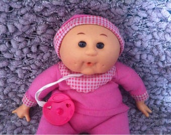 Baby Girl Cabbage Patch Kids Doll Hard Plastic Head, Hands and Feet 1990 Uneeda Doll