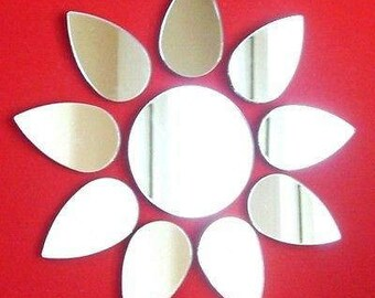 Flower Shaped Mirror (In 10 parts) - 5 Sizes, and colour mirrors available