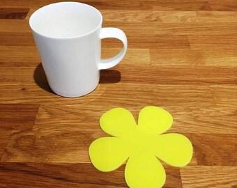 Daisy Shaped Yellow Gloss Finish Acrylic Coasters