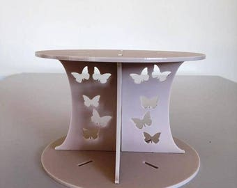 "Butterfly Round Latte Beige Mat Acrylic Cake Pillars/Cake Separators, for Wedding / Party Cakes 10cm 4"" High, Size 6"" 7"" 8"" 9"" 10"" 11"" 12"""