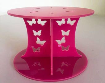 """Butterfly Round Pink Gloss Acrylic Cake Pillars/Cake Separators, for Wedding / Party Cakes 10cm 4"""" High, Size 6"""" 7"""" 8"""" 9"""" 10"""" 11"""" 12"""""""