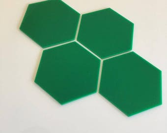 "Green Gloss Acrylic Hexagon Crafting Mosaic & Wall Tiles, Sizes: 1cm to 20cm - 1"" to 7.9"""