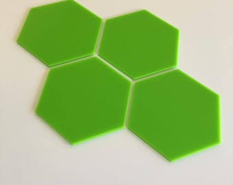 "Lime Green Gloss Acrylic Hexagon Crafting Mosaic & Wall Tiles, Sizes: 1cm to 20cm - 1"" to 7.9"""