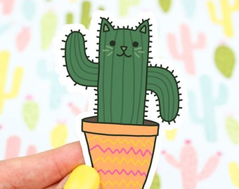 Saguaro Cat Sticker, Desert Decal, Cacti, Succulents, Kitty Sticker, Vinyl Decal, Tumbler Sticker, Laptop Decal, Planner Stickers, Green