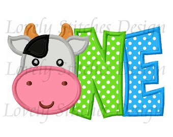 Cow Birthday Number ONE Applique Machine Embroidery Design NO:0605