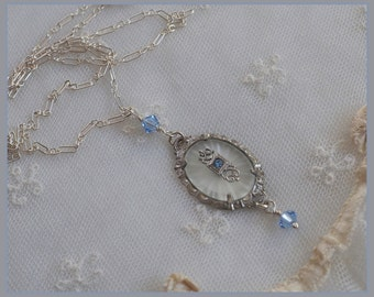 Vintage Camphor Glass Necklace - Sterling Silver  Chain - Blue Crystal Beads