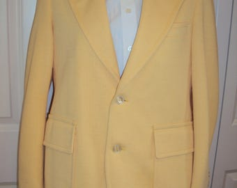 1970s Mens Lemon Yellow Polyester Slim Cut Lined Sport Coat/Blazer/ John Blair Sport Coat/ Spring Summer/Prom/Wedding/Graduation Size 40 S