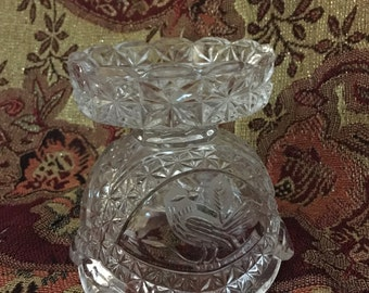Vintage Hofbauer Crystal Hurricane Lamp, Base Only, from the Hoffebauer Byrdes Collection Lead Crystal