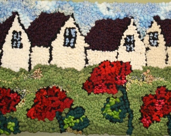 """FREE SHIPPING Planting Geraniums -11""""x17"""" Rug hooking pattern by Deanne Fitzpatrick"""