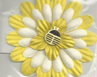 Yellow Triple Layer Flower with Bee Brad