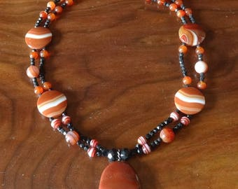 Artisan Banded Carnelian and Agate Antique Jet Drop Necklace-Sterling Clasp, Whale Tail, Scottish