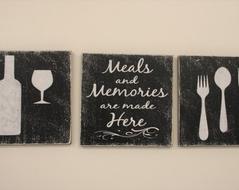 Meals And Memories Are Made Here Wood Sign Kitchen Dining Room Black White