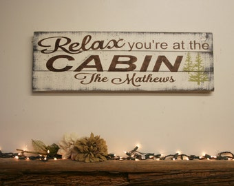 Cabin Sign Cabin Wall Decor Pallet Sign Personalized Sign Distressed Wood Sign Rustic Cabin Wall Hanging Housewarming Gift
