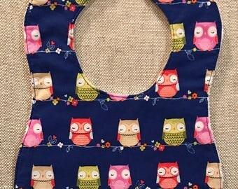 Baby Bib in Purple Owl fabric