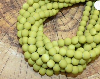 8mm Matte Frosted Vintage Pea Green Rubberized Resin Beads for Jewellery Making and Stretchy Bracelets Approx 50 Beads