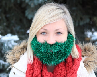 Green Glitter Beard Child/Adult- Green Holiday Tinsel Beard
