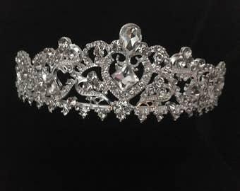Vintage Bridal Tiara Crown, Rhinestone Tiara Crown, Art Deco Rhinestone Tiara, Pageant Crown, Communion Crown