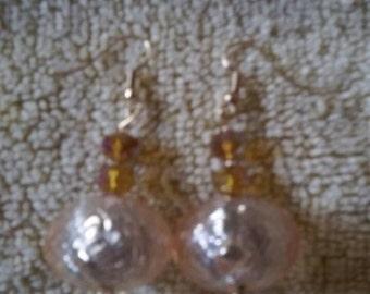 Golden foil globe earrings, style #2
