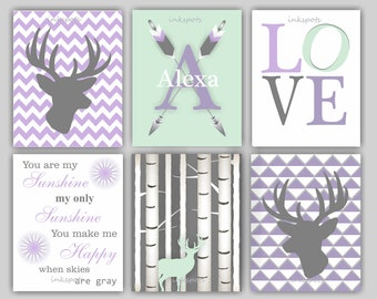 Baby Girl Nursery Art, Woodland Nursery, Woodland Art, Deer Print, You Are My Sunshine, Woodland Bedding Decor, Fawn, Choose Colors - WD4420