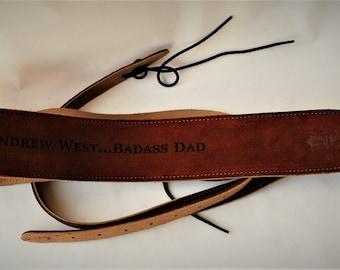 Custom Suede Banjo straps, custom Banjo straps, banjo straps, personalized banjo straps, Rust color