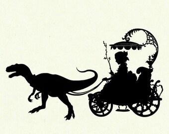 Dinosaur Art Print Silhouette Girl Carriage Pet Raptor Velociraptor SMALL art print Victorian Steampunk Jurassic Park