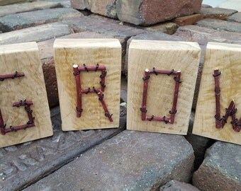 Reclaimed wood and red dogwood twig block letters