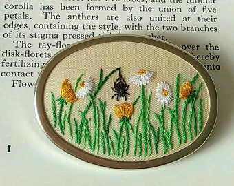 Hand embroidered miniature meadow with spider brooch