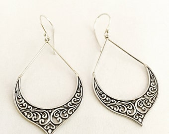 Trendy Sterling Silver Dangle Earrings with Intricate Design
