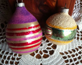 Two Striped Christmas Ball Ornaments Marked Shiny Brite Made In U.S.A.