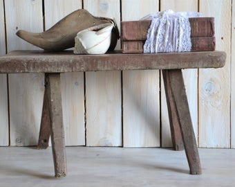 Vintage milking stool, Wooden bench, Rustic bench, Step stool, Rustic wooden seat, Strong stool, Primitive side table, Industrial