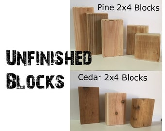 Unfinished Wooden Blocks -- DIY Crafting -- Wooden Blocks -- U-Craft-It 2x4 Blocks