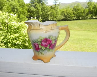 Austria Floral Hand Painted Porcelain Pitcher / Creamer with Gold Accent