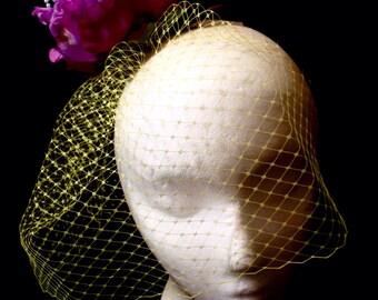 "Fuschia Magenta Lilac Yellow Veiled Flower Fascinator ""Claudette"""