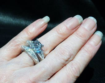 Engagement Wedding Ring Set, Vintage Replica Bridal Set