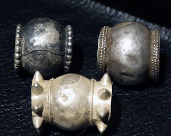 Tribal Bead Trio, 29.4 Grams Silver , Vintage