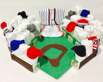 Baseball Diaper Cake, Baseball Stadium Diaper Cake