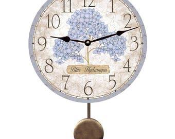 Blue Hydrangea Pendulum Clock
